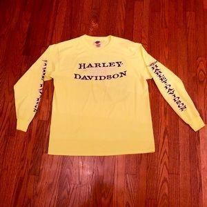 Harley-Davidson Long Sleeve Neon Yellow T SZ XL